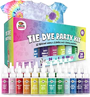 24 Bottles, 163 Items Tie Dye Party Kit: Rainbow Classic is The Ultimate kit with 12 Vibrant Colors in Easy-Squeeze Bottle...