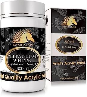 Titanium White Acrylic Paint - 300ml Bottle (10oz) - Artist Quality - Lightfast - Heavy Body - Vibrant Color - Great Tinti...