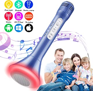 Tencoz Kids Microphone, Karaoke Microphone Bluetooth Wireless Portable Handheld Easter Christmas Birthday Home Party Gifts Toys for 4 5 6 7 8 9 4+ Year Old Kids Girls Boys Mic Speaker Machine(Blue)