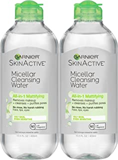Garnier SkinActive Micellar Cleansing Water, All-in-1 Makeup Remover and Facial Cleanser, For Oily Skin, 13.5 fl oz, 2 Pack