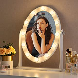 LUXFURNI Hollywood Lighted Vanity Makeup Mirror w/12 LED Lights, Touch Control Dimmable Cold/Warm Light, Adjustable Angle ...