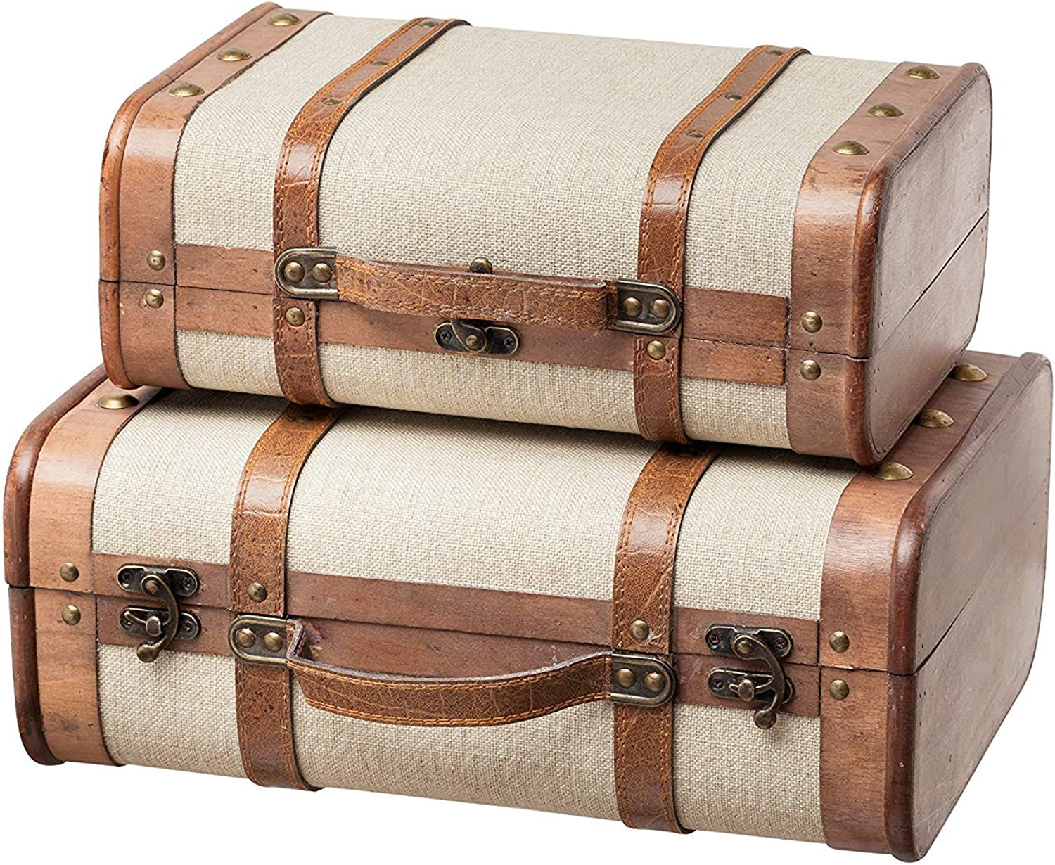 SLPR Decorative Suitcase with Straps (Set of 2 Beige)   Old-Fashioned Antique Vintage Style Nesting Trunks for Shelf Home Decor Birthday Parties Wedding Decoration Displays Crafts Photoshoots