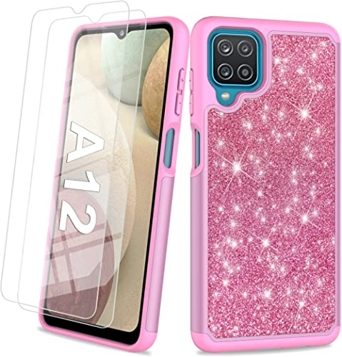 Glitter Case for Samsung Galaxy A12 6.5 Inch | Cute Sparkle Protective Cell Phone Basic Case for Girls Women | TPU+PC...