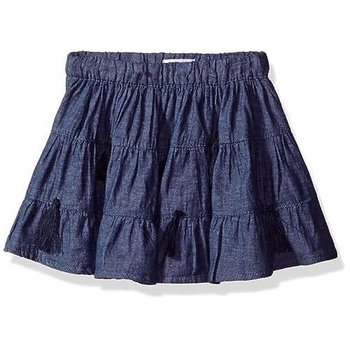 c543b65789 Mud Pie Baby Girls  Toddler Chambray Denim Tassel Skirt