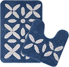 Saral Home Soft Cotton Bathmat Set with Contour (Blue, 60x40cm) - Pack of 2