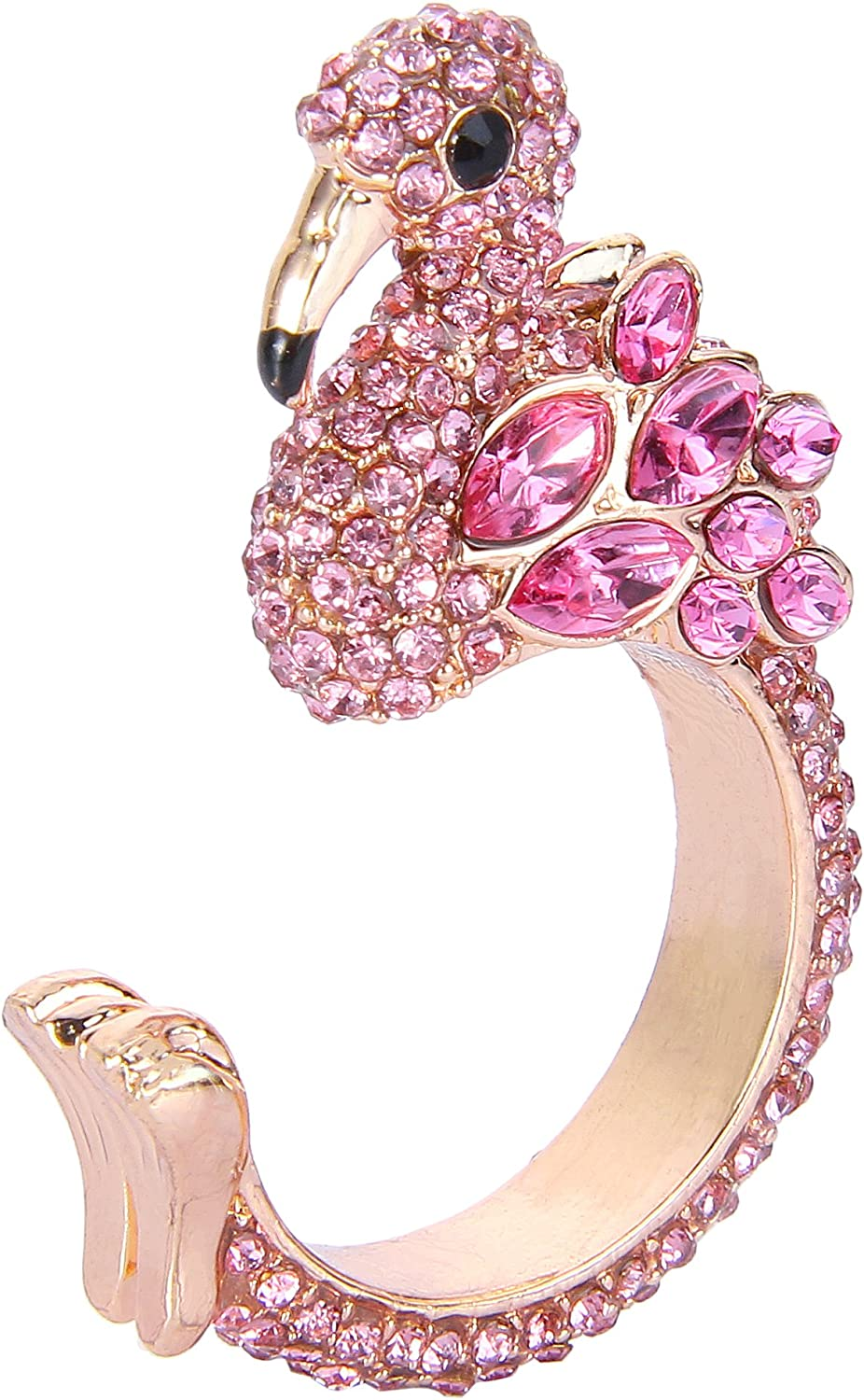 EVER FAITH Gold-Tone Austrian Crystal Lovely Little Flamingo Statement Cuff Ring Pink