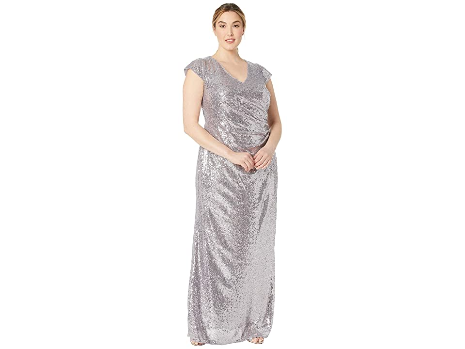 Adrianna Papell Plus Size Cap Sleeve Sequin Mermaid Evening Gown (Lilac Grey) Women