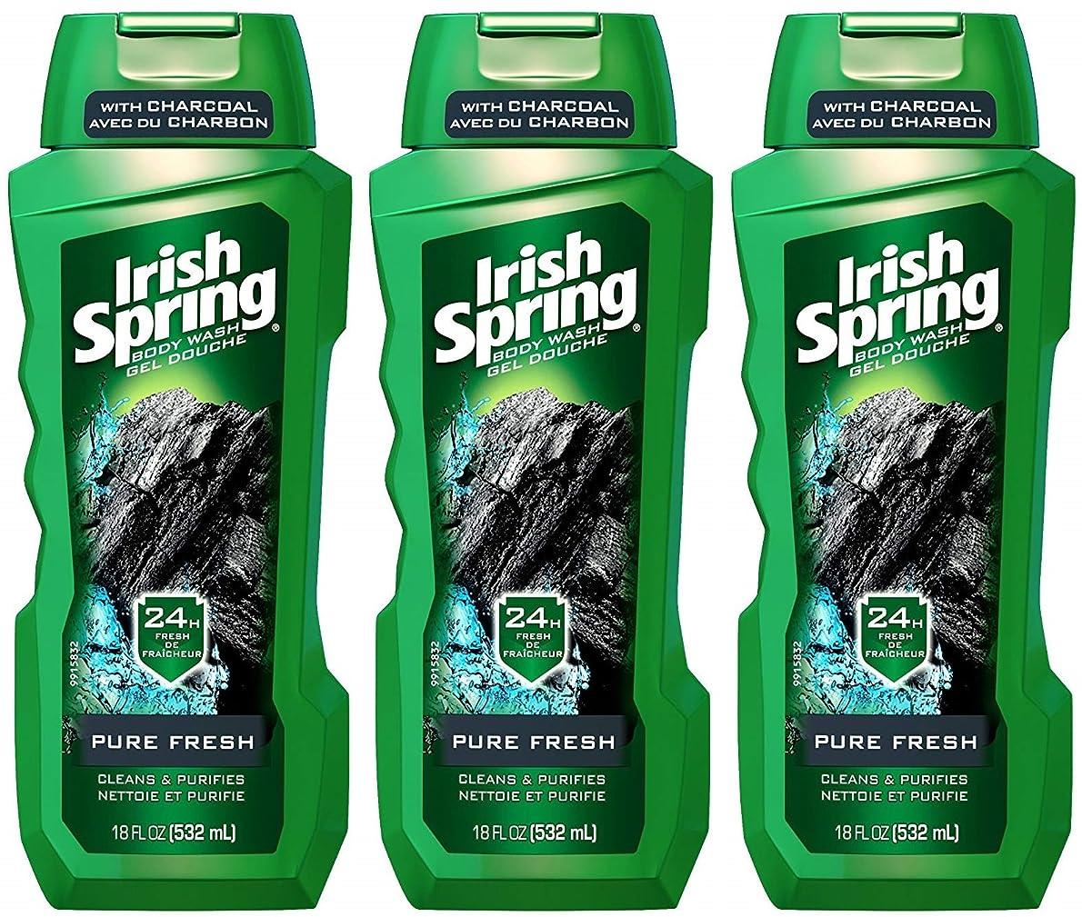 論争的教授風邪をひくIrish Spring ボディウォッシュ - ピュアフレッシュ - 炭で - ネット重量。ボトルパー18液量オンス(532 ml)を - 3本のボトルのパック