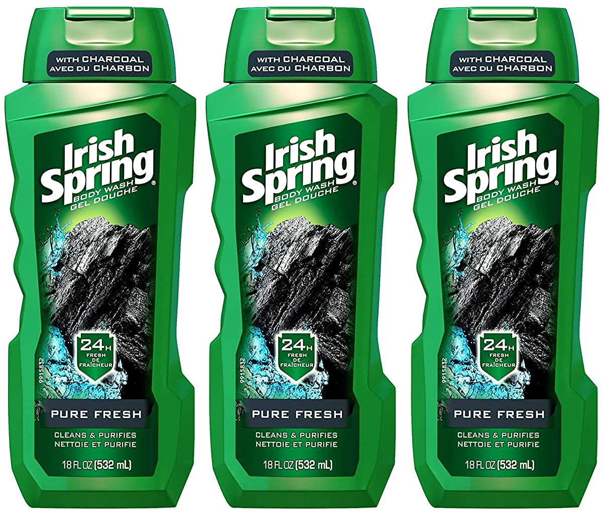 偉業スリーブモニターIrish Spring ボディウォッシュ - ピュアフレッシュ - 炭で - ネット重量。ボトルパー18液量オンス(532 ml)を - 3本のボトルのパック
