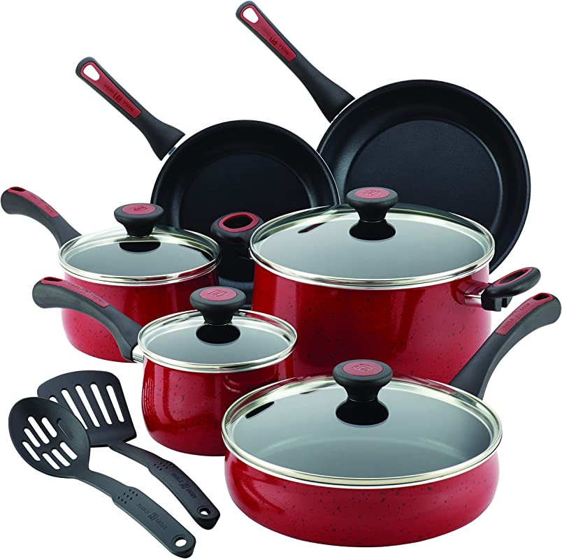 Paula Deen Riverbend Aluminum Nonstick Cookware Set 12 Piece Red Speckle