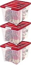 IRIS USA, TB-56D, Holiday Plastic Storage Tote, 53 Qt, Red, 3 Pack
