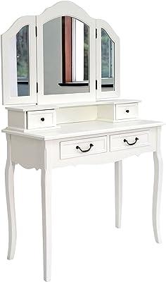 My Flair Schminktisch Klassik mit klappbaren Seitenspiegeln, Holz, weiß, 90 x 40 x 148 cm
