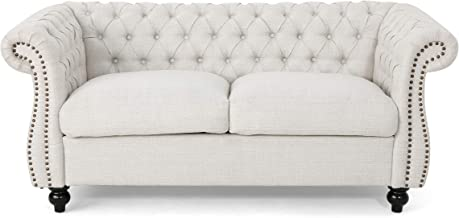 Christopher Knight Home Karen Traditional Chesterfield Loveseat Sofa, Beige and Dark Brown, 61.75 x 33.75 x 27.75