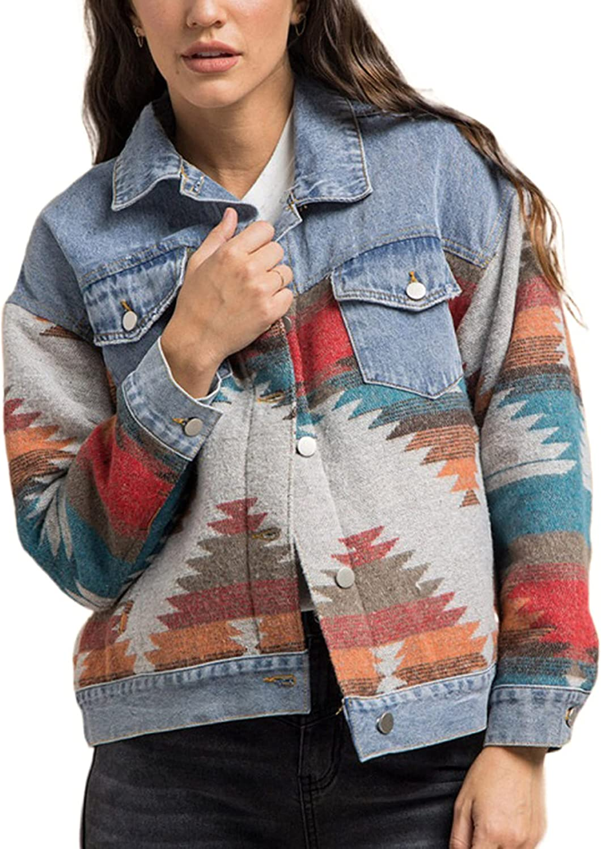 Uaneo Womens Patchwork Denim Jean Jacket Aztec Print Button Down Coat Outerwear