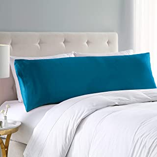 EXQ Home Satin Body Pillow Cover Teal Silky Body Pillowcases with Envelope Closure 20x54 (Anti Wrinkle,Wash-Resistant)