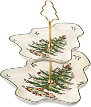 Spode Christmas Tree Sculpted 2-Tier Server, 8-Inch and 10-Inch