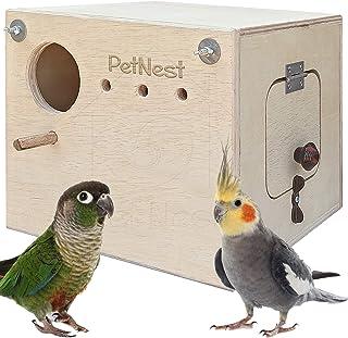 PetNest® Breeding Box Bird Nest with Perch for Cockatiel Bird Standard (Horizontle)