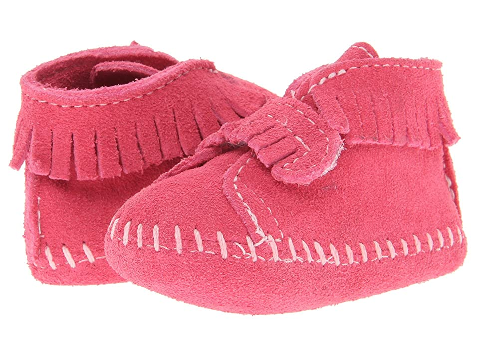 Minnetonka Kids Front Strap Bootie (Infant/Toddler) (Pink Suede) Kids Shoes
