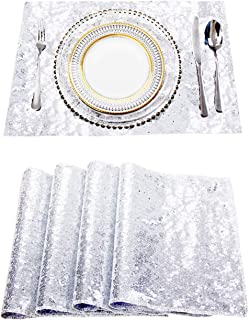Party Delight Sequin Placemats for Baby Shower Wedding Dining Room Table mats, Set of 4, Silver, 12'' X18''