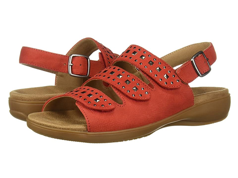 Trotters Tonya (Red Embossed Soft Leather/Studs) Women