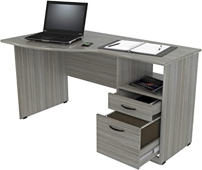 Inval Curved Top Desk, Smoke Oak