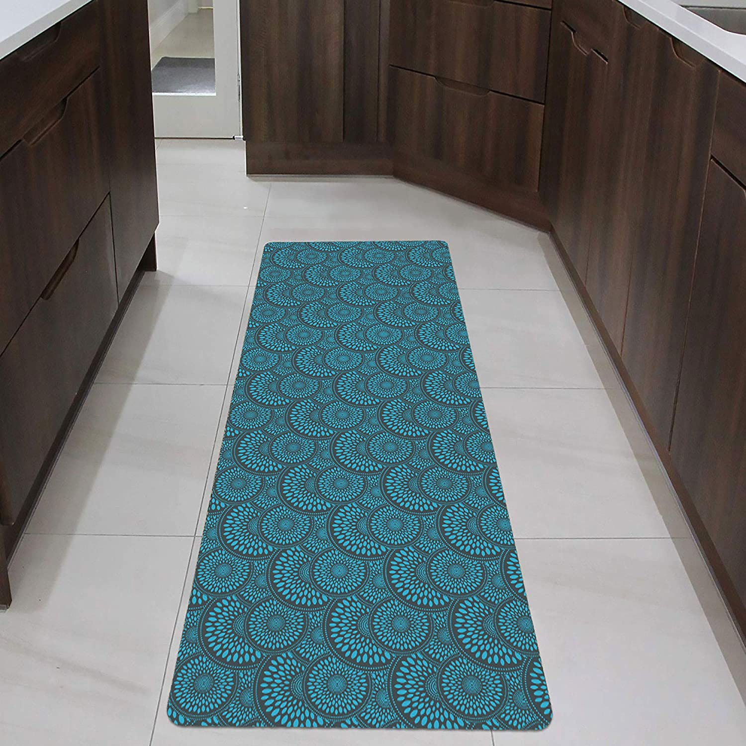 """Shape9 Runner Mat Ultra Thin Kitchen Rug with Non Slip Rubber Backing  9x9"""", Blue"""