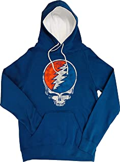 Ripple Junction Grateful Dead Adult Unisex Distressed Steal Your Face Skull Funnel Neck Pull Over Fleece Hoodie