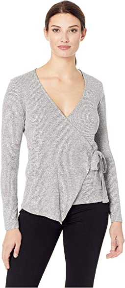 Long Sleeve Ribbed Wrap Top