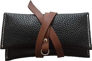 Astuccio porta tabacco custodia piccola in vera pelle pregiata e riciclata bicolor Nero e Marrone fatto a mano in Italia M...