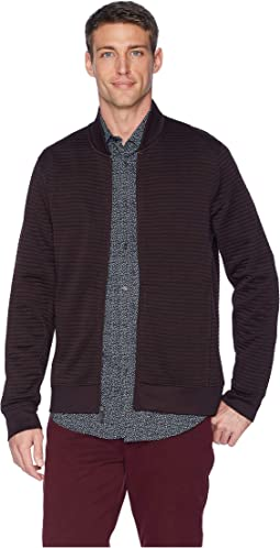 Textured Knit Bomber Jacket