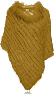 Natural Rabbit Fur Poncho Knitted Pullover