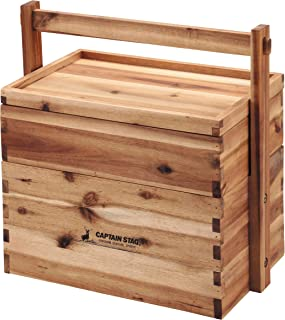 CAPTAIN STAG鹿牌木盒 木盒 收纳箱 储物箱 木制 饭团 2层 带盖 CS经典 UP-2004