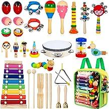 TAIMASI آلات موسیقی کودکان و نوجوانان ، 25PCS 18 نوع سازهای ضربه ای چوبی Tambourine Xylophone اسباب بازی برای کودکان و نوجوانان ، آموزش پیش دبستانی اسباب بازی موزیکال اولیه برای پسران و دختران