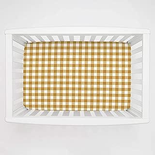 Carousel Designs Mustard Gingham Mini Crib Sheet 1-Inch-4-Inch Depth - Organic 100% Cotton Fitted Mini Crib Sheet - Made in The USA