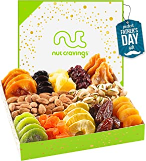 Fathers Day Dried Fruit & Nut Gift Basket in White Box (12 Piece Assortment) - Prime Arrangement Platter, Birthday Care Pa...
