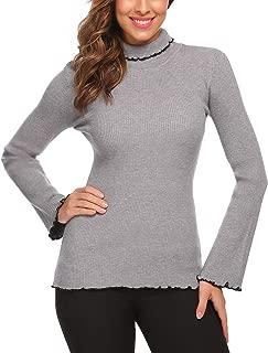 Women Turtleneck Flare Long Sleeve Slim Fit Ruffles Hem Thin Knit Sweater