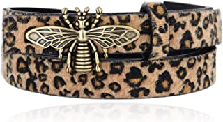Fashion Leather Leopard Belts for Women Lead Free Copper Bee Buckle Waist Belt Skinny Ladies Haircalf Casual Waistband