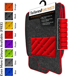 Car Mats Fit  2017   Anthracite Tailored Car Mats  amp  Red Trim  amp  Red Double Ultra Thick Rectangle Heel Pad