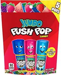 Push Pop Jumbo Individually Wrapped Lollipop Suckers Variety Pack - 5Count Bag (Pack Of 8) Assorted Flavors