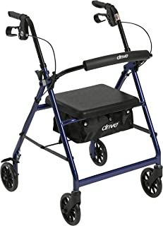 Drive Medical Aluminum Rollator Walker Fold Up and Removable Back Support, Padded Seat, 6
