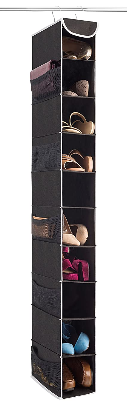 "ZOBER 10-Shelf Hanging Shoe Organizer, Shoe Holder for Closet - 10 Mesh Pockets for Accessories - Breathable Polypropylene, Black - 5 "" x 11 ?"" x 52"""