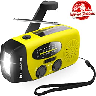 Upgraded Version RunningSnail Emergency Hand Crank Self Powered AM/FM NOAA Solar Weather..