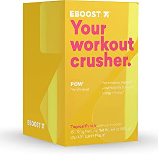Eboost Natural Pow Pre-Workout Powder Box 6.4 oz (15 Count) (Tropical Punch)
