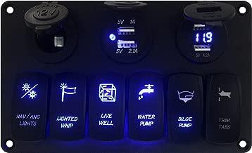 BANDC Aluminum Marine Grade IP65 12v/24v Blue Led Laser carving 6 Gang Rocker Switch Panel & Power outlet socket/USB Charger Socket/Voltmeter&USB Charger Socket For Boat Yacht