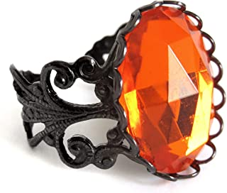 Bright Orange Halloween Pumpkin Ring, Black Gunmetal Filigree Adjustable Ring, Goth Gothic Halloween Jewelry