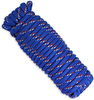 """MaxxHaul 50227 3/8"""" x 50 Ft Diamond Braided Rope Extra Strength-Sunlight and Weather Resistant, Multicolor"""