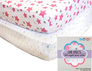 Best Organic Crib Sheets for Baby Girls, 2 Adorable Fitted Pink & White Alphabet and Stars Sheet Set & Bonus Washcloth Gif...