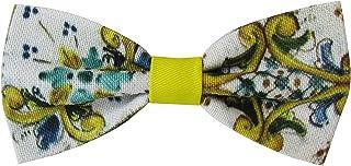 Papillon giallo e bianco maiolica siciliana sartoriale pre-legato con ganci regolabili linea 2020