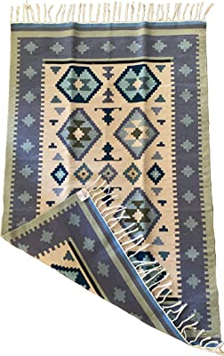 Kilim rug- handmade - 100% fine wool - area rug - 11.5 m - Blue // Natural // off-white - Eclectic