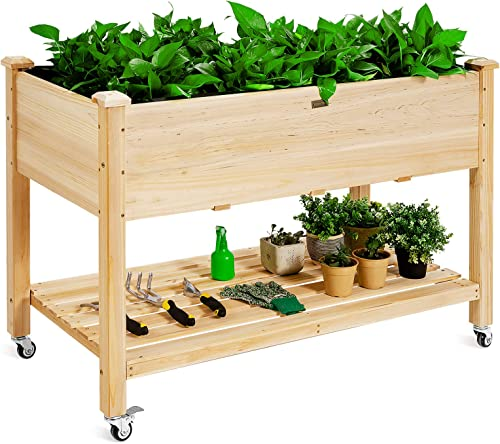 """discount Giantex Raised Garden Bed on Wheels, sale Wood Planter Box with Legs, Liner, Drain Holes, Elevated Garden Bed for Vegetables, Standing Garden Container for Backyard, Patio, 47.5"""" LX wholesale 23.5"""" WX 33"""" H outlet sale"""